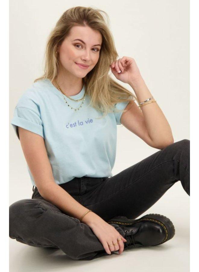 T-Shirt C'est La Vie - Blauw