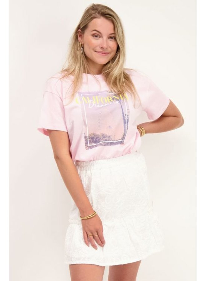 T-Shirt California Print - Roze