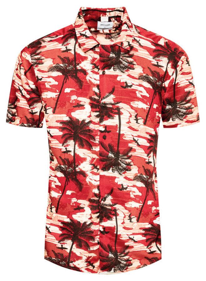 Only & Sons Overhemd Korte Mouw 22019157 - Rood