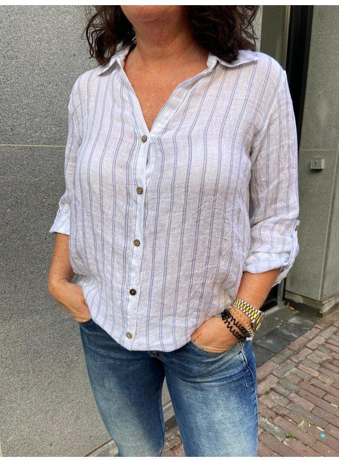 Perla Nera Linnen Blouse 06613 - Blauw/Wit Streep