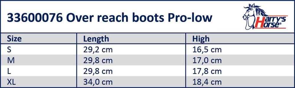 Maattabel springschoenen Pro Low