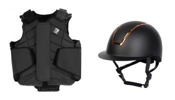 Bescherming ruiter met helm en bodyprotector