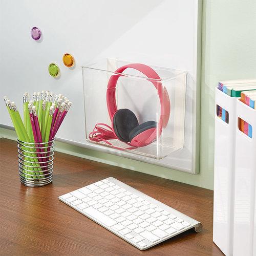 Badkamerbakje zelfklevend transparant iDesign | bakje met plakstrips