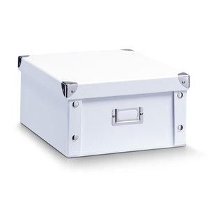 Opbergbox met deksel medium (31 x 26 x 14 cm) wit Zeller