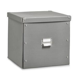 Opbergbox met deksel large (33 x 33 x 32 cm) grijs Zeller