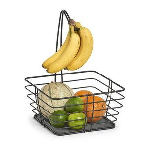 Fruitmand zwart met bananenhanger Zeller