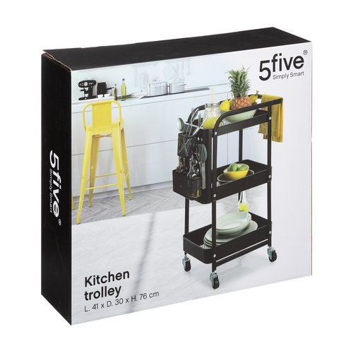 Five® Keukentrolley zwart incl. accessoires  Five®