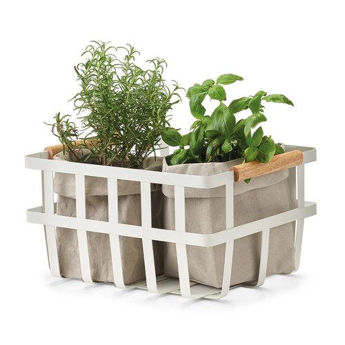 Metalen mandje houten handvatten Zeller Present