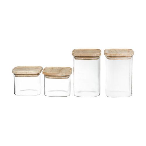 Five® Voorraadpotten met houten deksel 4-delig Five®