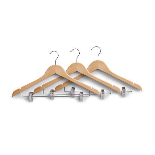 Houten kledinghangers met clips Zeller Present | set van 3