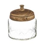 Glazen voorraadpotten met houten deksel