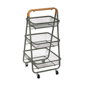 Metalen trolley 3 niveaus en houten handvat