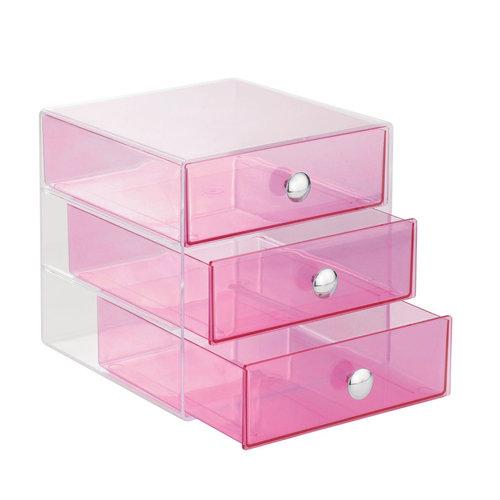 Transparant gekleurd make-up kastje iDesign - Drawers