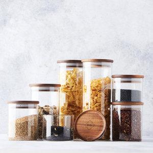Glazen voorraadpotten acacia houten deksel DK
