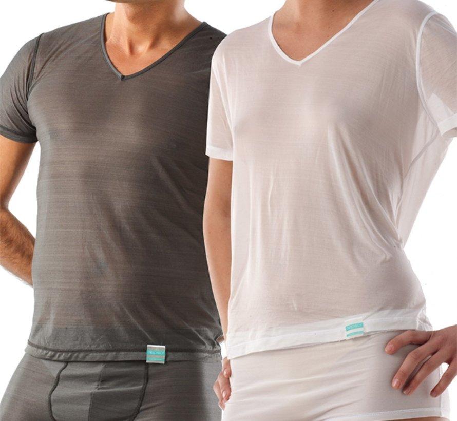 T-shirt eczeem kort V hals