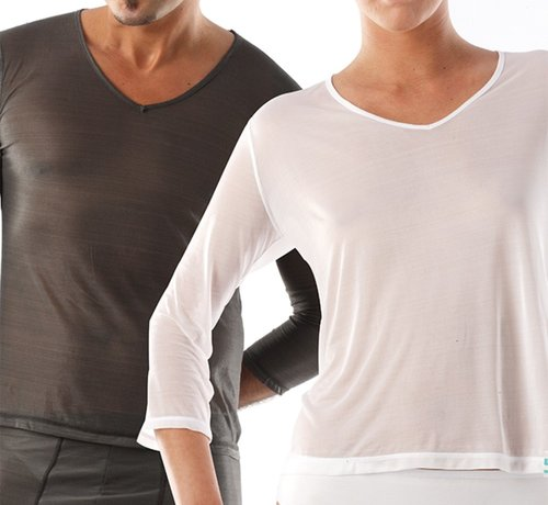 T-Shirt lang V-Hals
