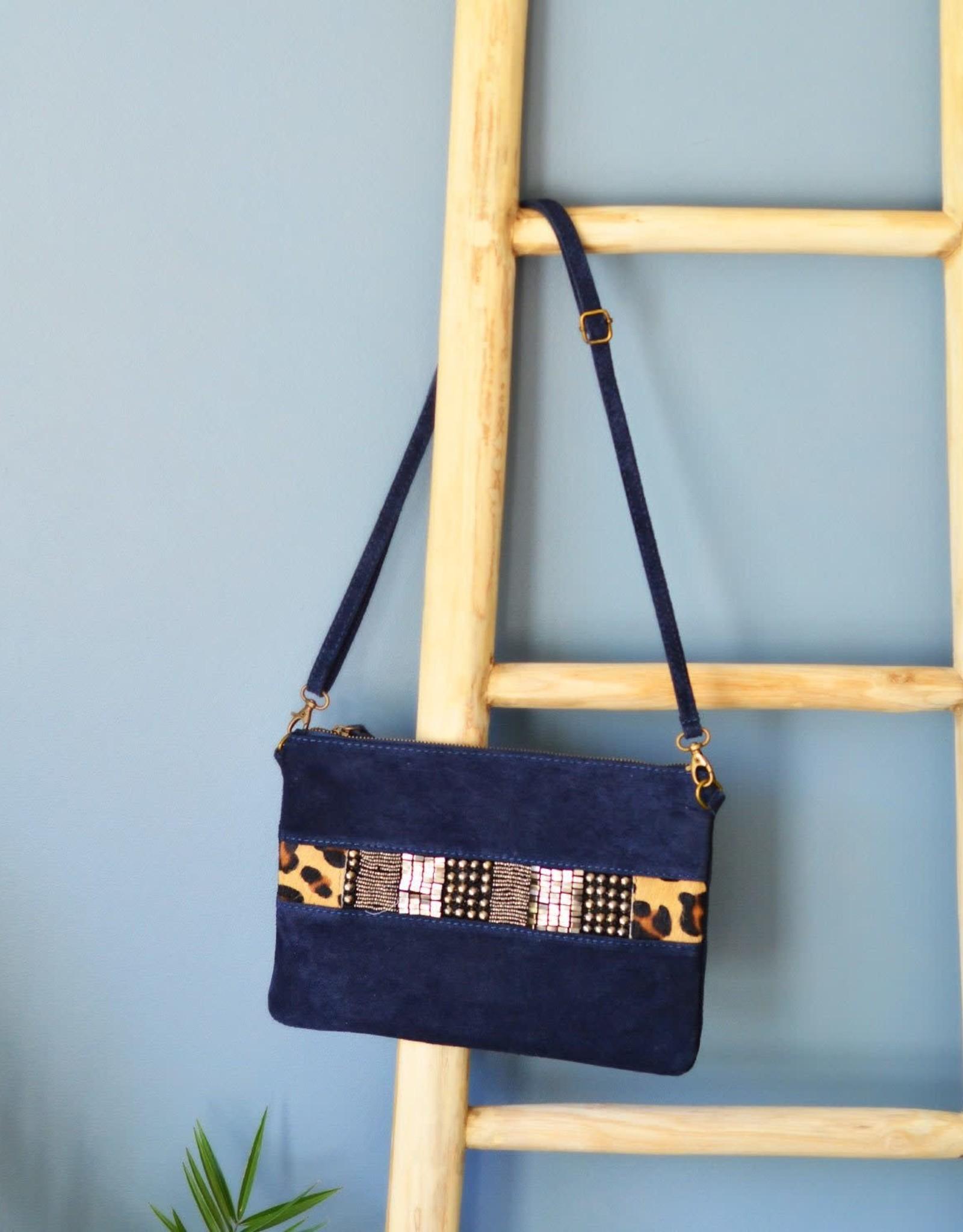 Blue leopard bag