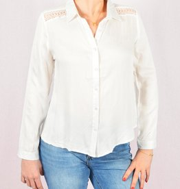 White shoulder boho blouse