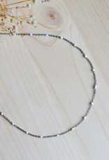 white dot necklace silver
