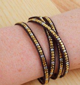 Leather pearl bracelet brown