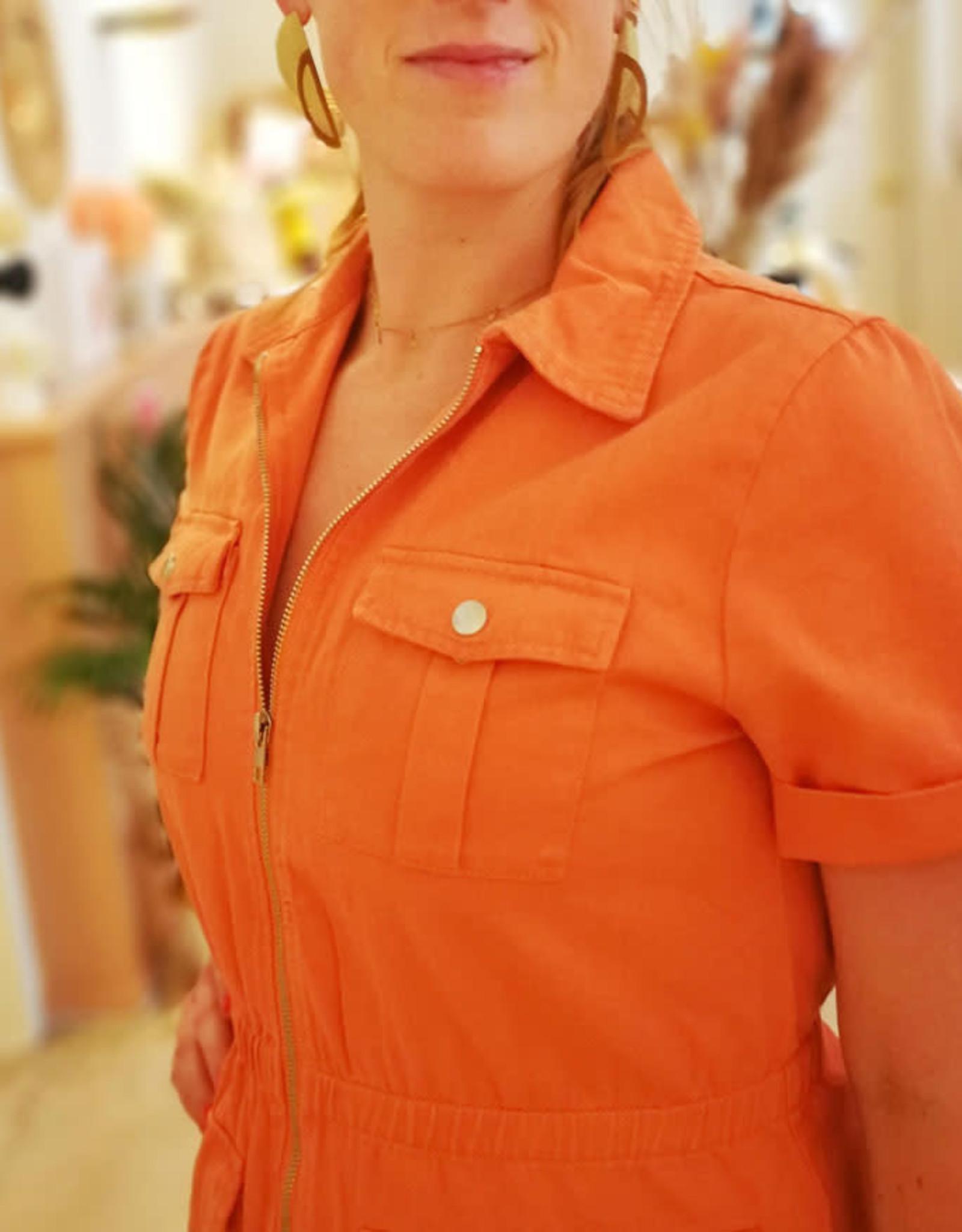 Orange denim dress