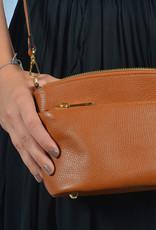 Handtas double zipper  camel