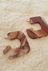 Statement resin wood earrings