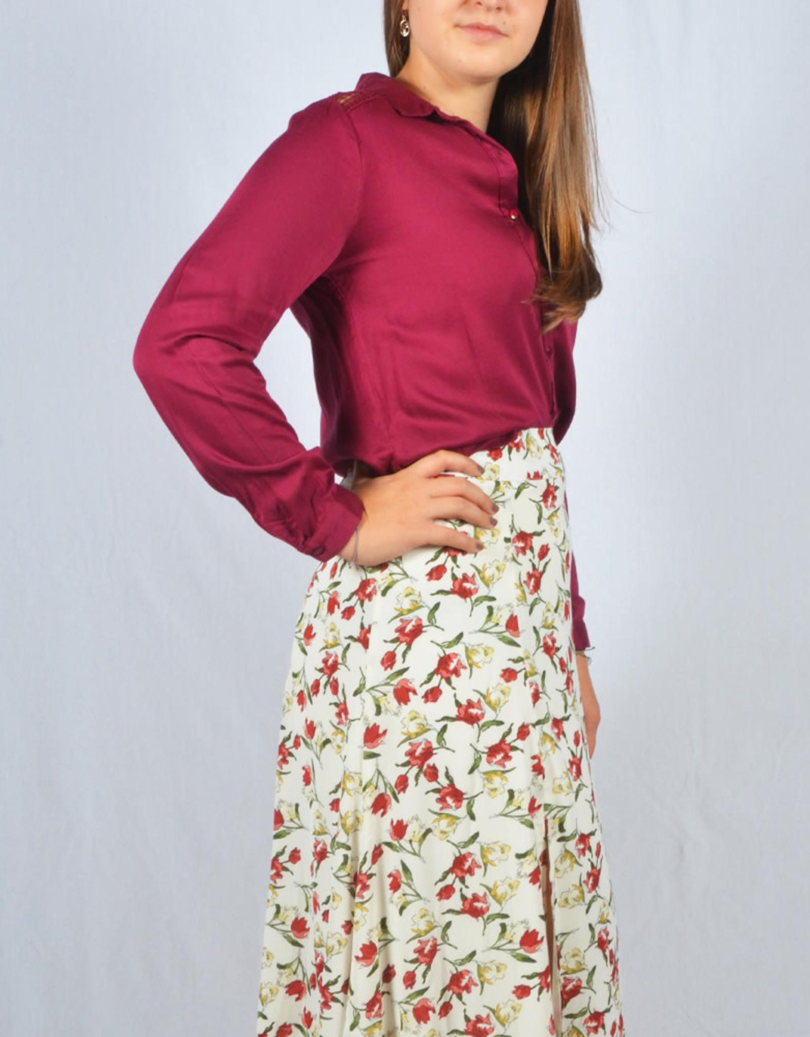 Burgundy shoulder boho blouse
