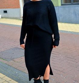 Rib homewear SET skirt & sweater black one size