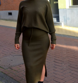 Rib homewear SET skirt & sweater kaki one size