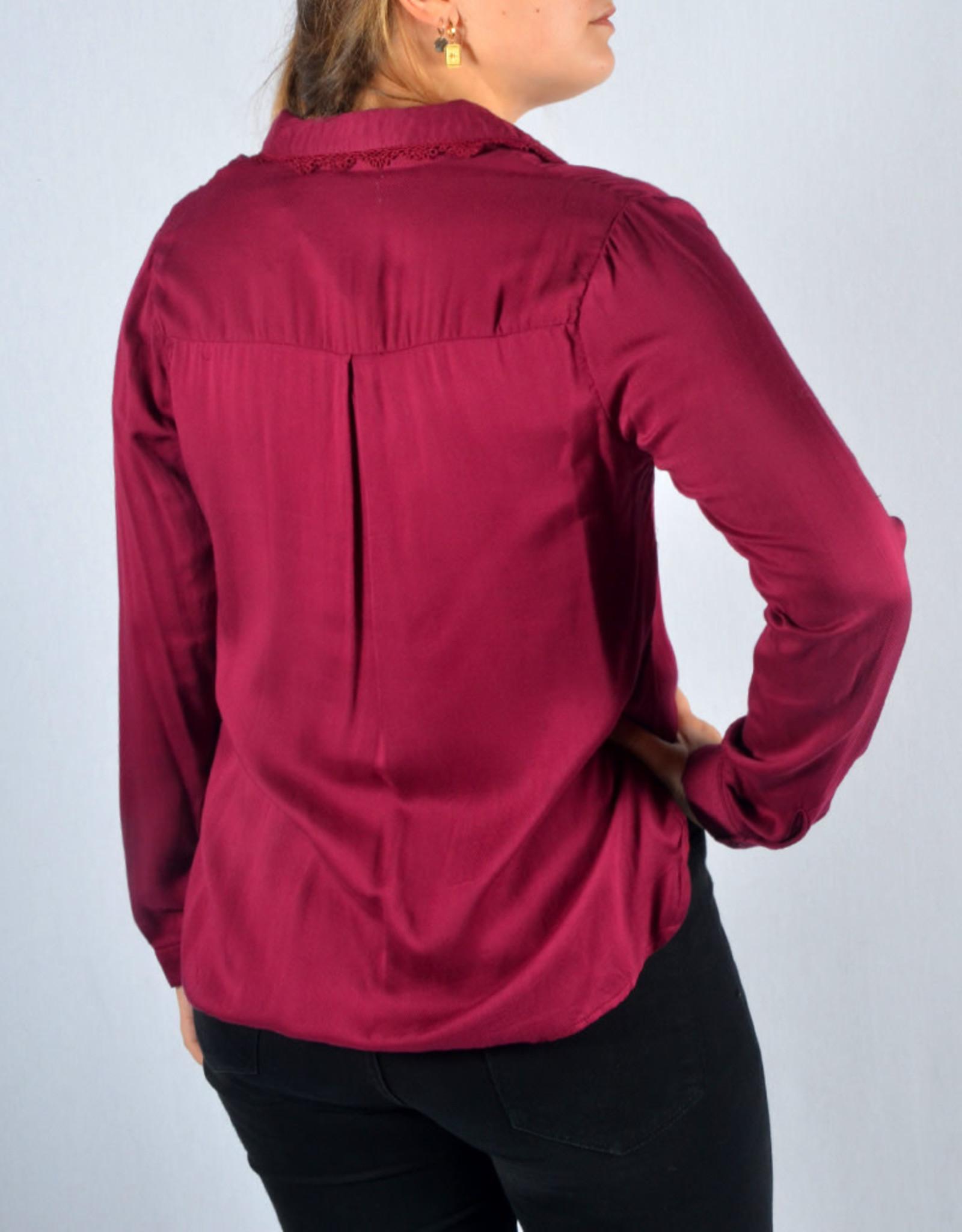 Burgundy lace blouse