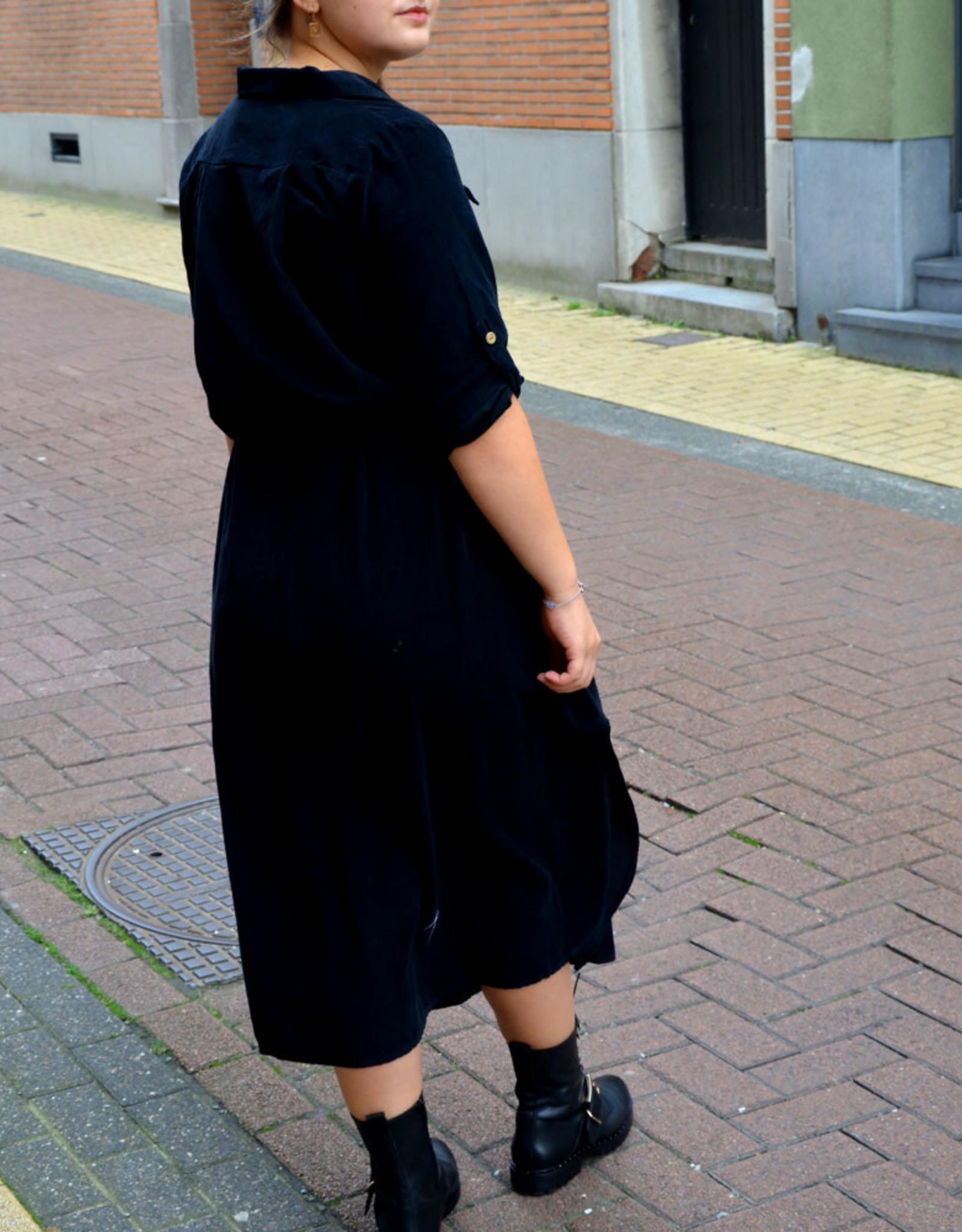 Rib black dress