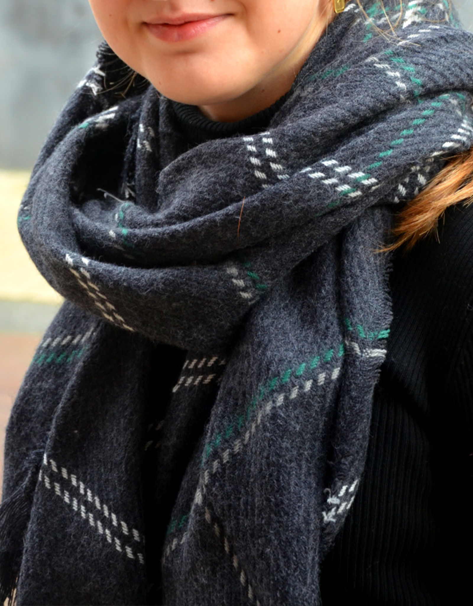 Scarf carreaux blue green