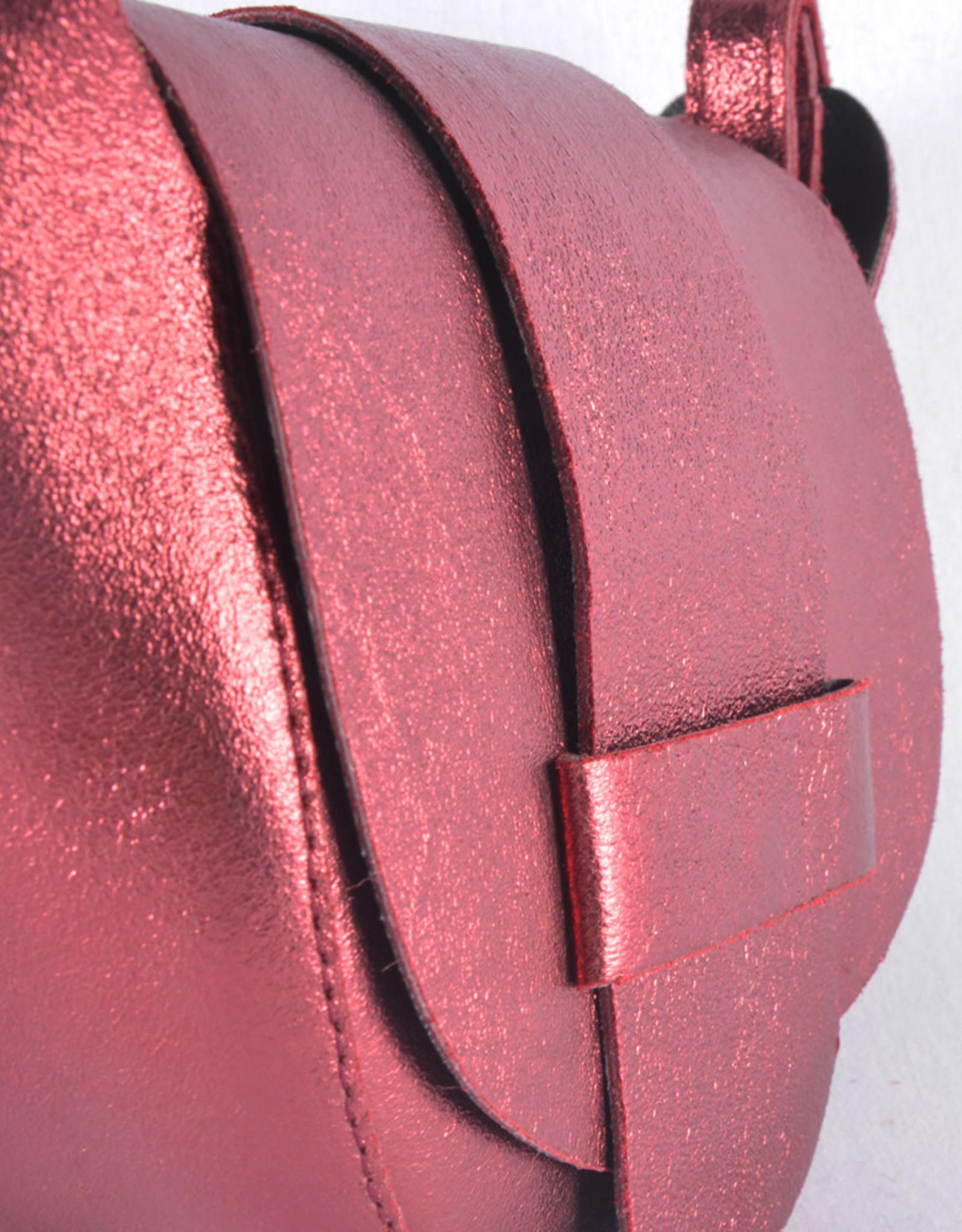 Compact redondo bag red sparkle