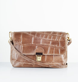 Croco gold bag brown