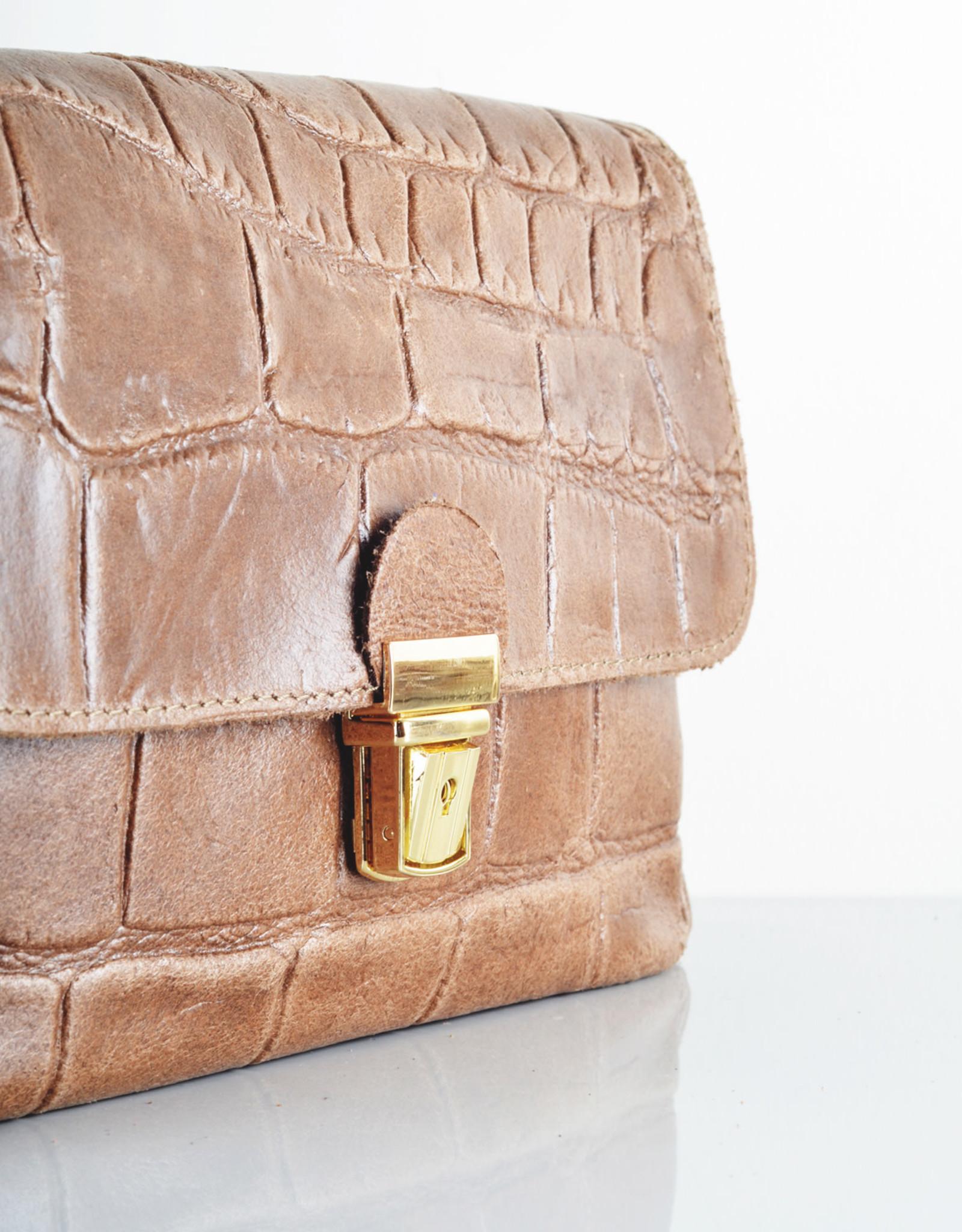 Croco gold bag brown