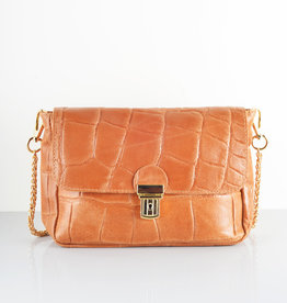 Croco gold bag camel