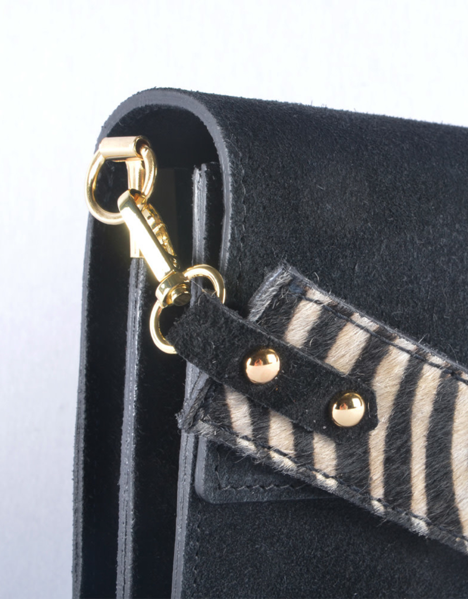 Zebra suede bag