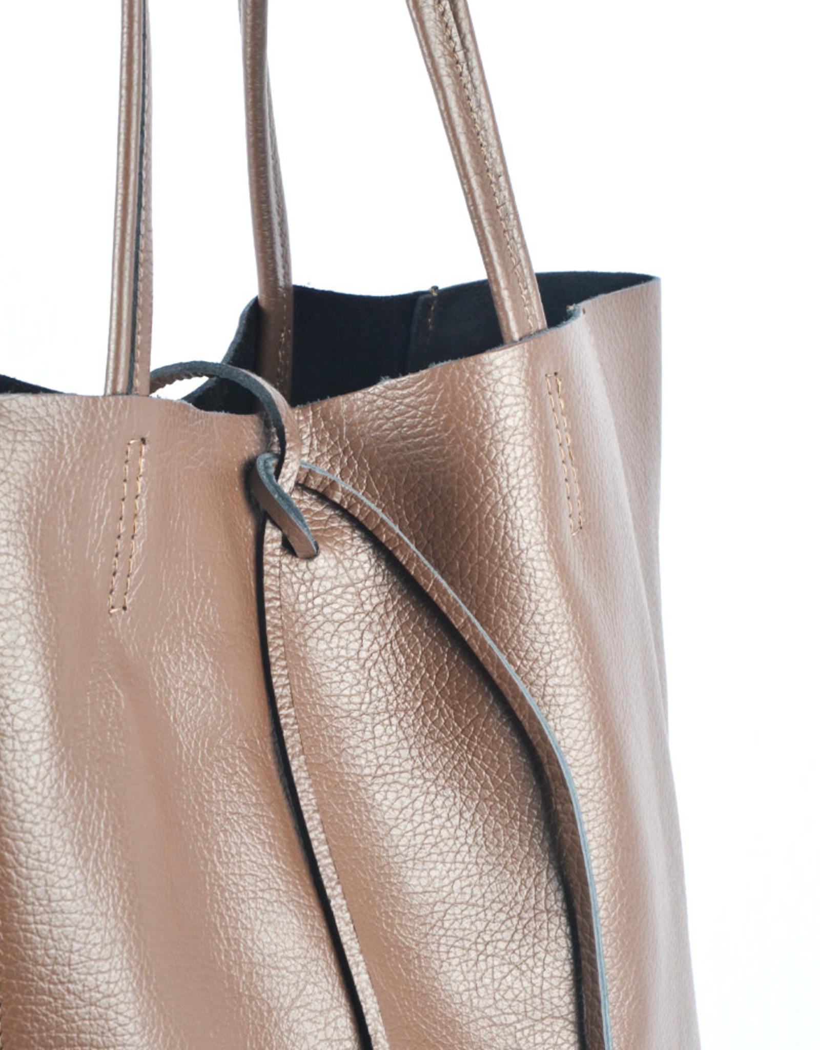 Shopper met lintje brown
