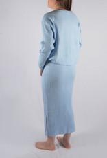 Rib homewear SET skirt & sweater baby blue one size