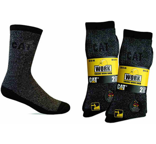 Cat CAT sokken Thermo zwart/grijs maat 41-45 bundel 2 paar