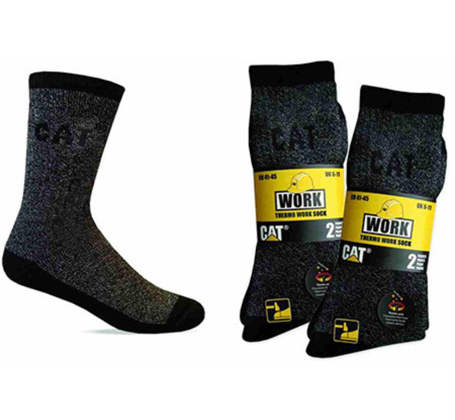 CAT sokken Thermo zwart/grijs maat 46-50 bundel 2 paar
