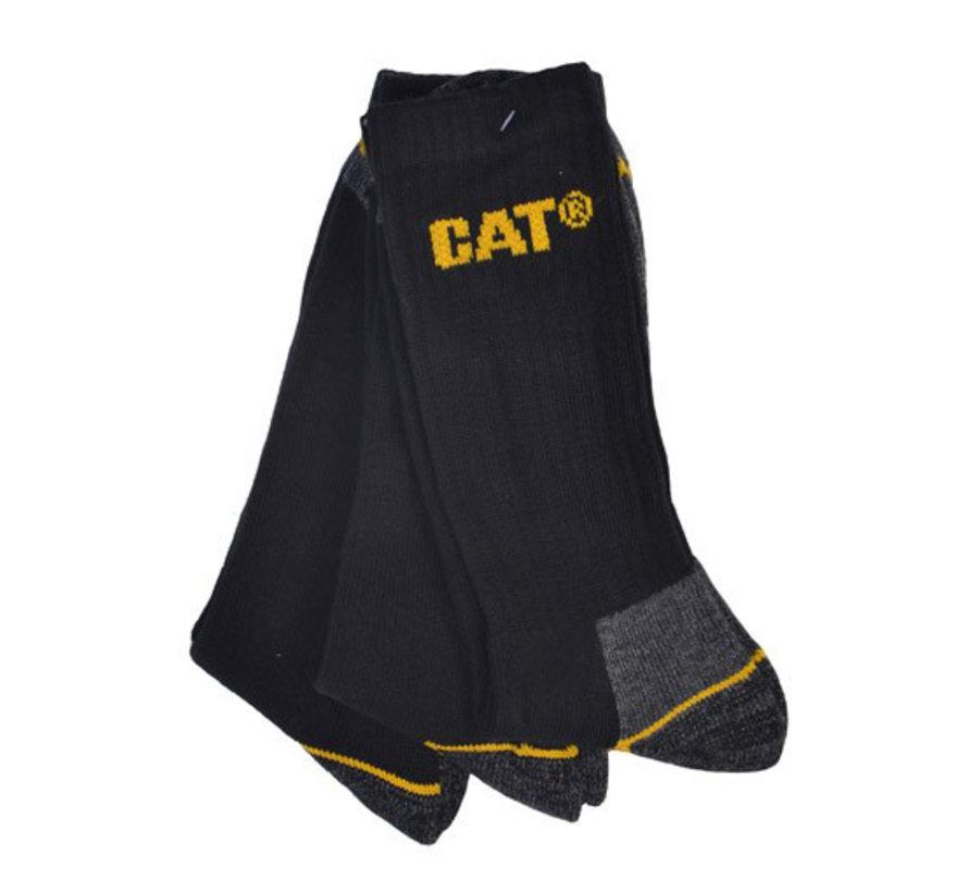 CAT Worker werksokken zwart maat 41-45 bundel 3 paar