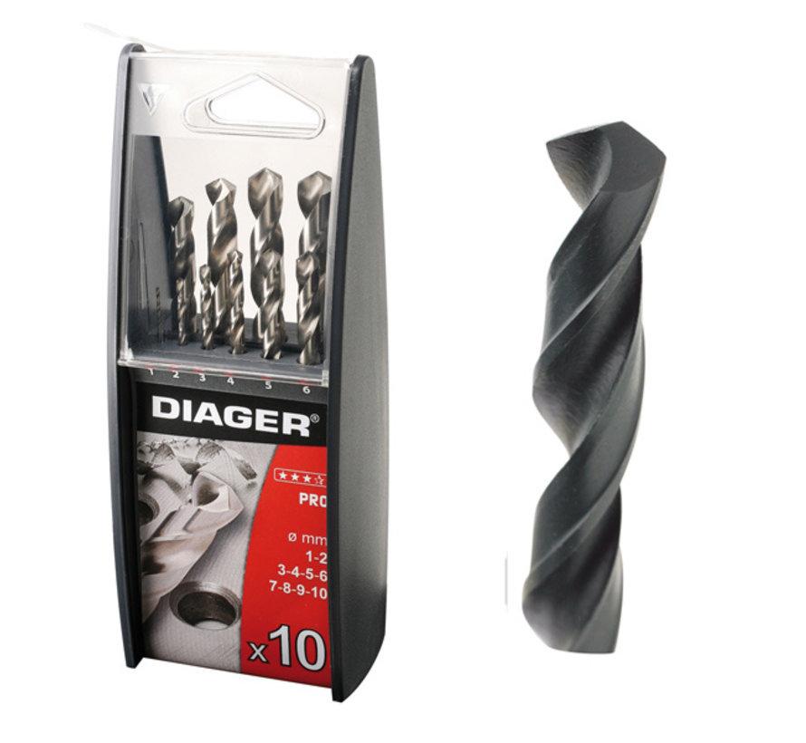 Diager 10-delige Staalboorset HSS Pro in kunststof duo doos inhoud: Ø1-2-3-4-5-6-7-8-9-10