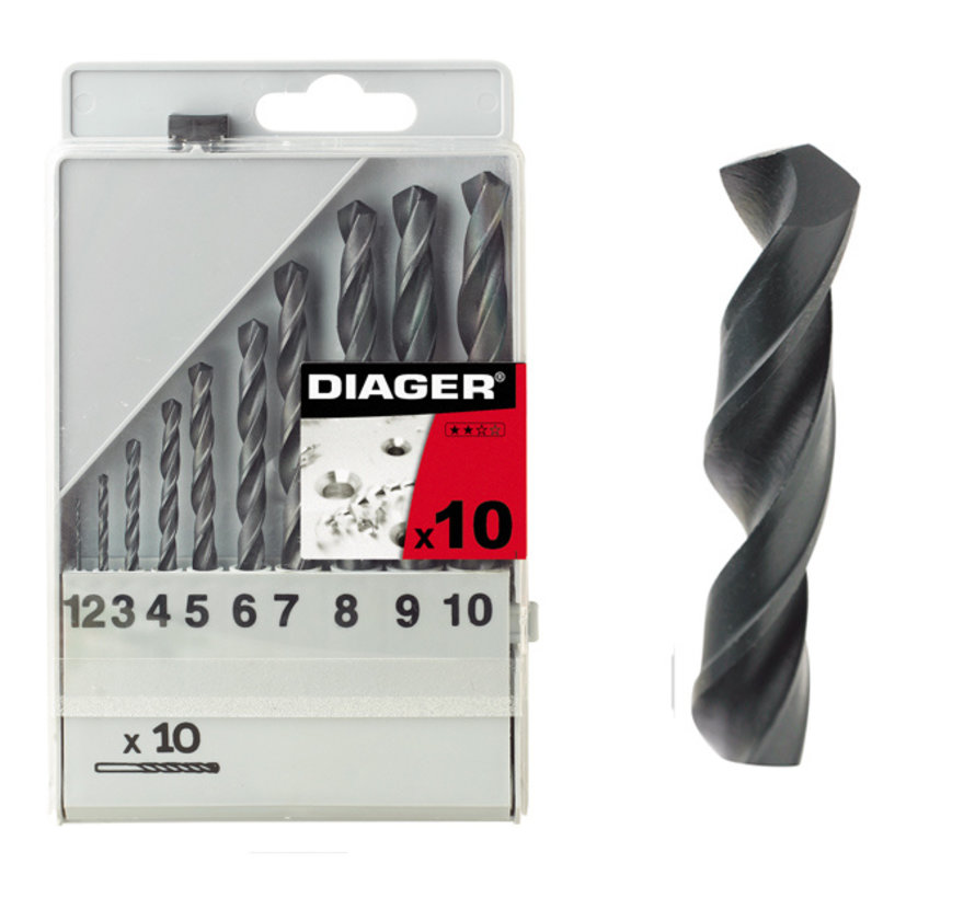 Diager 10-delige Staalboorset HSS Standaard in kunststof doos inhoud: Ø1-2-3-4-5-6-7-8-9-10