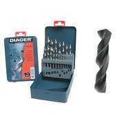 Diager Diager 19-delige Staalboorset HSS Pro in metalen doos inhoud: Ø1-1.5-2-2.5-3-3.5-4-4.5-5-5.5-6-6.5-7-7.5-8-8.5-9-9.5-10