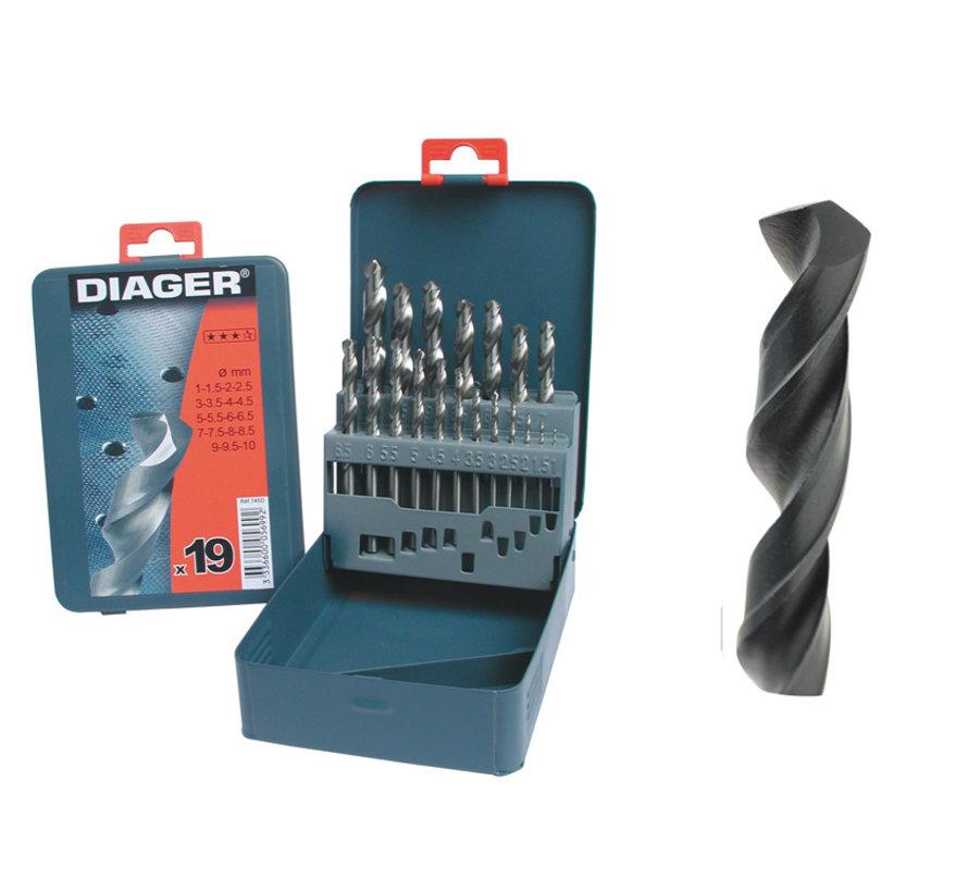 Diager 19-delige Staalboorset HSS Pro in metalen doos inhoud: Ø1-1.5-2-2.5-3-3.5-4-4.5-5-5.5-6-6.5-7-7.5-8-8.5-9-9.5-10