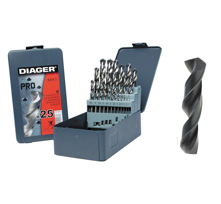 Diager 25-delige Staalboorset HSS Pro in metalen doos inhoud: Ø1-1.5-2-2.5-3-3.5-4-4.5-5-5.5-6-6.5-7-7.5-8-8.5-9-9.5-10-10.5-11-11.5-12-12.5-13