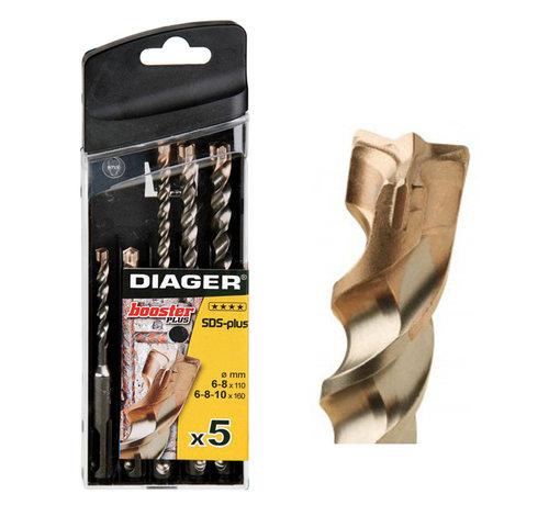 Diager Diager 5-delige Betonborenset Booster-Plus 6x110,  6x160, 8x110, 8x160, 10x160 met SDS-Plus aansluiting n kunststof doos