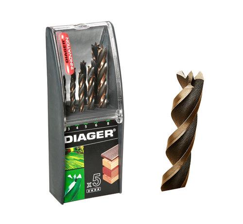Diager Diager 5-delige Houtboorset Pro 4WOOD in kunststof doos inhoud: Ø3-4-5-6-8